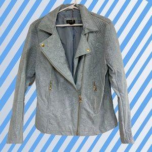 Cartise Light blue Suede moto jacket